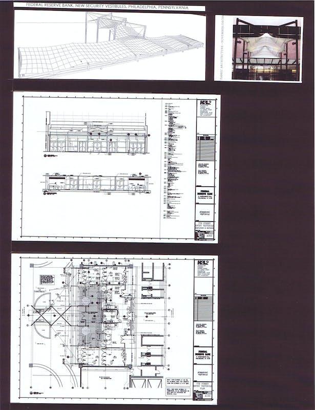 7th Street Entry Vestibule, Canopy Study, Elevation, Section, Floor Plan