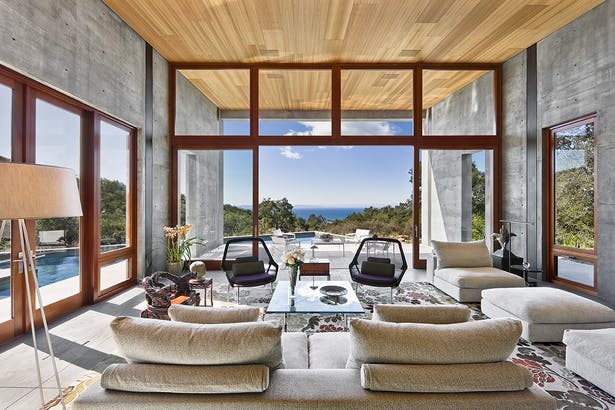The main volume is extended from the kitchen and features awe-inspiring views of the California coast.