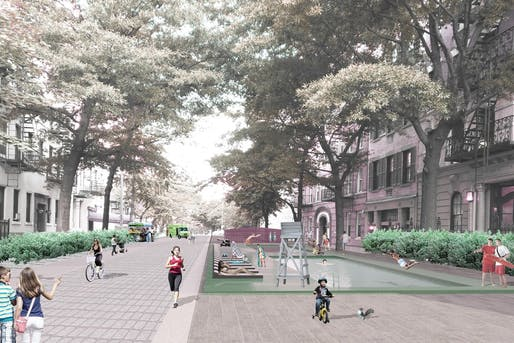 Rendering of potential for local streets with more public space and no private vehicles. Image: Perkins Eastman.