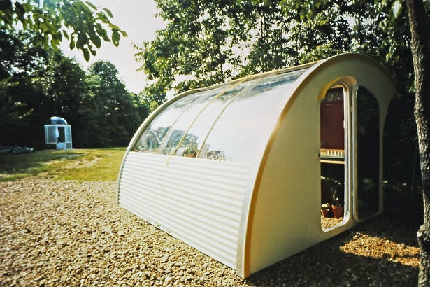 Solar heated insulated greenhouse open day position1974.