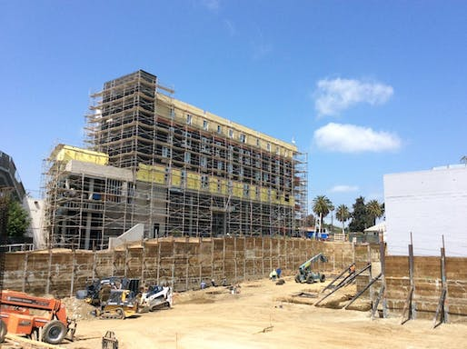 Construction photo of KFA's PATH Metro Villas project in East Hollywood, which was originally scheduled to be completed in March. Photo courtesy of KFA