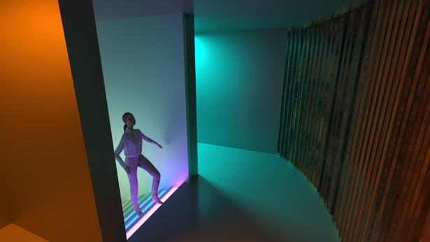 A stairway with color changing lights leads to the third floor (and phase) of the maze
