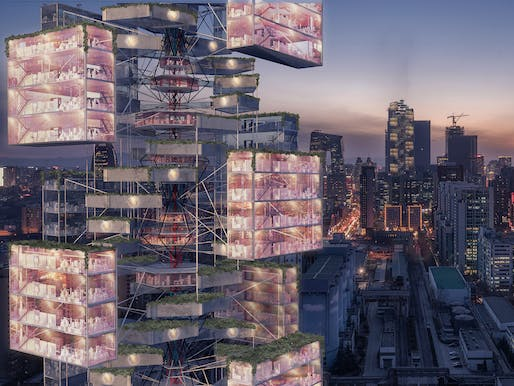 Winner of the 2020 EVOLO Skyscraper Competition: EPIDEMIC BABEL designed by D Lee, Gavin Shen, Weiyuan Xu, and Xinhao Yuan from China. All images courtesy of EVOLO Skyscraper Competition.