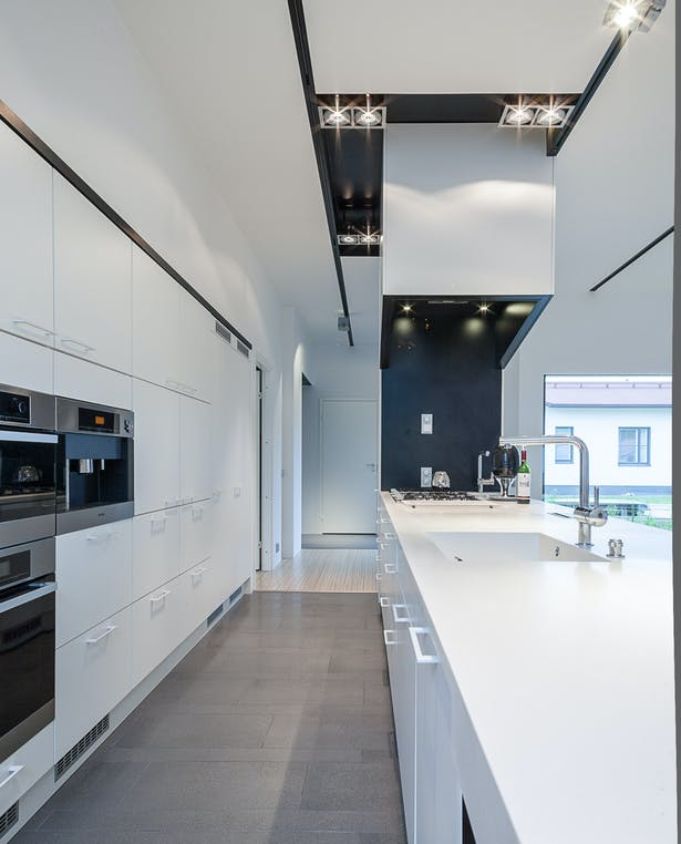 The variation of black and white creates interesting lines to the interior.