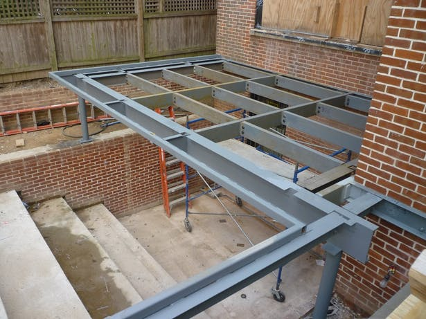New deck framing and cellar terrace