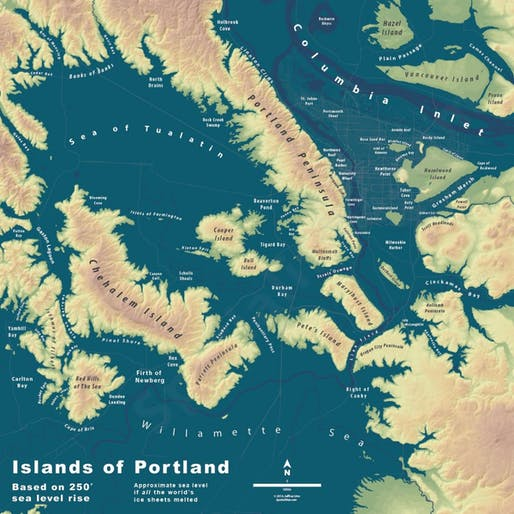 The city of Portland flooded by sea-level rise. Credit: Jeremy Linn via CityMetric
