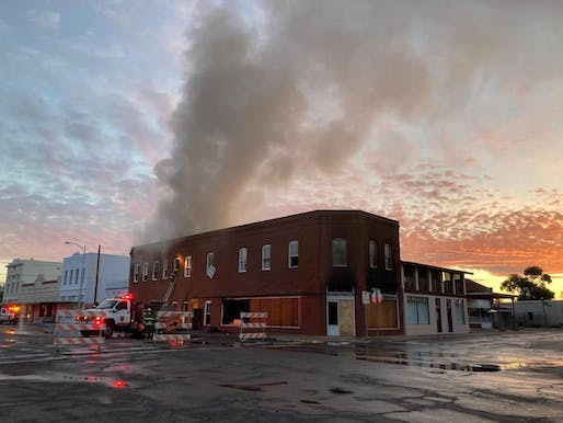 A fire broke out at the site of the Architecture Office of Donald Judd in Marfa, Texas. Photo: Judd Foundation