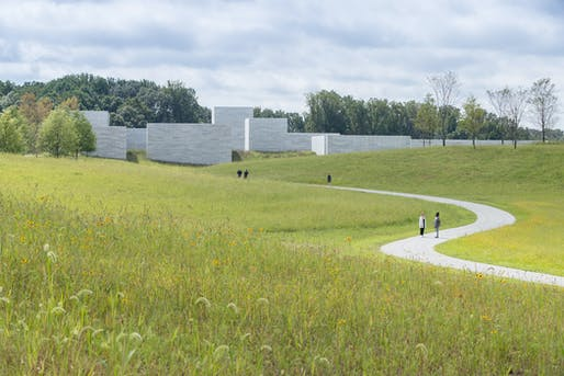Approach to Glenstone Museum's new Thomas Phifer-designed 'Pavilions' building, embedded within a 130-acre landscape by Adam Greenspan and Peter Walker of PWP Landscape Architecture. Photo: Iwan Baan, courtesy of Glenstone Museum.