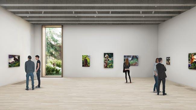 Gallery level -1 with view to Sunken Garden © Herzog & de Meuron