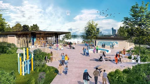 """Niagara Falls State Park Visitor Center - """"The new 29,000-square-foot center will include visitor orientation, lobby, interactive exhibits, gift shop, dining, and outdoor terraces and overlook."""". Image provided by GWWO Architects"""