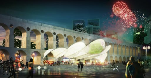 Night view of the competition-winning [RIO DE JANEIRO] Symbolic World Cup Structure entry by Mekene Architecture
