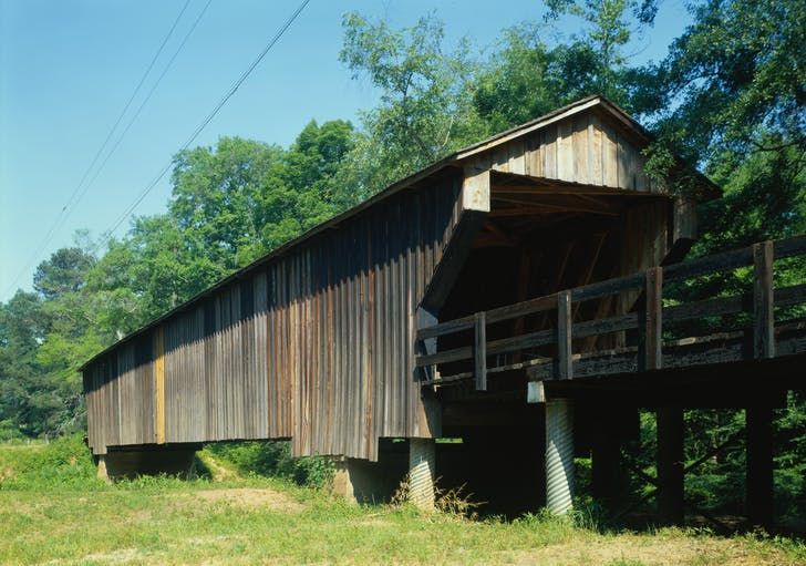 The Red Oak Creek Bridge, designed by Horace King. Image courtesy of Historic American Engineering Record, Library of Congress.