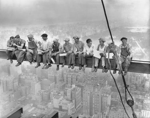 """Lunch on top of a skycraper"" Image © Courtesy of Corbis images"