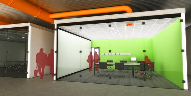 Individual conference rooms with exposed mechanical systems