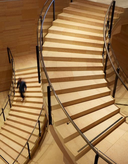 Detail of the Williams Forum stairs seen from level one - Steve Hall © Hall + Merrick Photographers, 2021