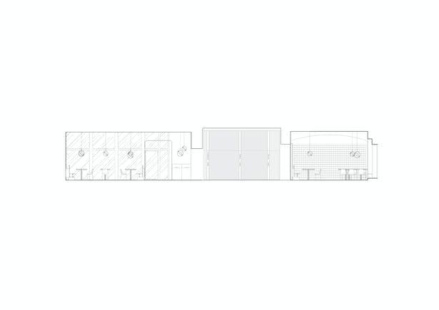 Longitudinal section Wine shop, restroom, entrance and winter garden elevations Formafatal