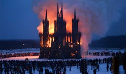Russian artist burns Gothic cathedral made of sticks at Maslenitsa carnival