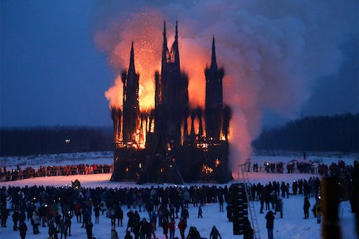 Flaming Gothic installation by ​Nikolay Polissky burning at Maslenitsa 2018 festival. Image: Andrei Nikerichev.