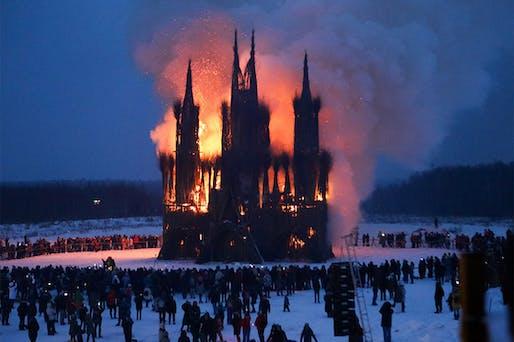 Flaming Gothic installation by Nikolay Polissky burning at Maslenitsa 2018 festival. Image: Andrei Nikerichev.