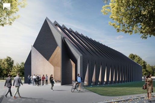 The Longhouse prototype by MIT's Mass Timber Design Workshop. Image: MIT.