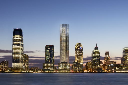 Rendering of the Jersey City skyline with 99 Hudson Street illuminated at the center. Image courtesy of Perkins Eastman.