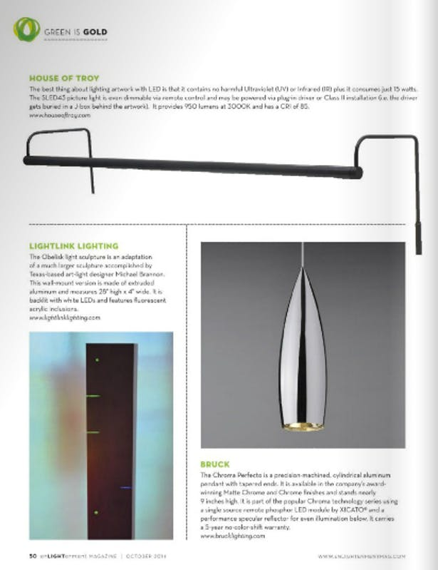 Enlightenment Magazine profiled our Obelisk art lighting design in their October 2014 Green Design Issue
