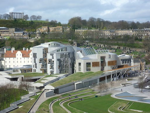 View of the Scottish Parliament building, designed by Enric Miralles and Benedetta Tagliabue. Image courtesy of Kim Traynor.