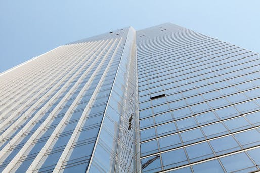 Looking up at the Millennium Tower in San Francisco. Image courtesy of Wikimedia user Frank Schulenburg.