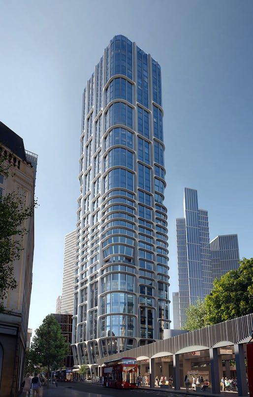 Vauxhall Cross Island proposal by Zaha Hadid Architects. Render by Slashcube.