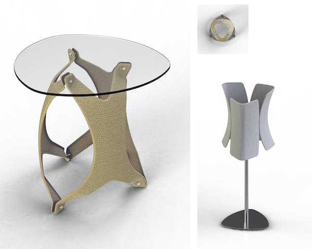 Nido - Hemp Fabric Lay-up Side Table & Tulipe - Injection molded Arboform Lamp