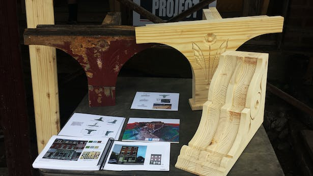 Representing our pine prototypes and fabrication process alongside the original facade elements.