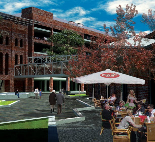 Central plaza space and microbrewery