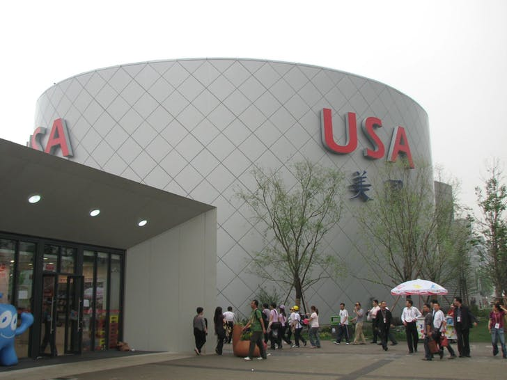 View of the 2010 US Pavilion from the World's Fair in Shanghai. Image courtesy of Wikimedia user Micah Sittig.