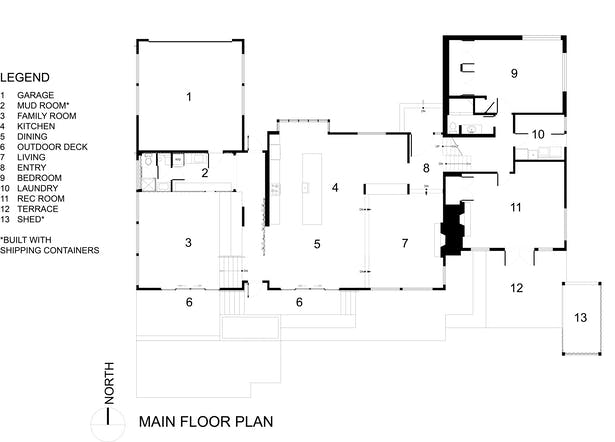 The Wyss Family Container House - Lower Floor Plan