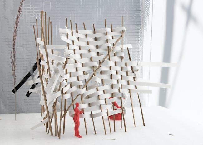 V. Mitch McEwen with Kristina Kay Robinson and Princeton Black Box (Julia Medina, Sally Jane Ruybalid, Samuel Wright II). R:R Maroon System IIII. 2020. PETG, foam, PLA, dried plants, and neoprene, dimensions variable. Image courtesy of the artist. The Museum of Modern Art, New York