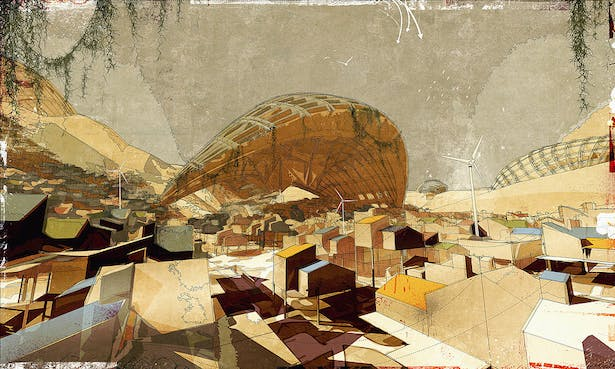 The Outer-City Settlement, digital media on paper, [2008] 60'x40'