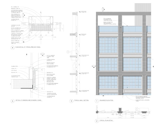 Typ. Window plan, elevation, section & details