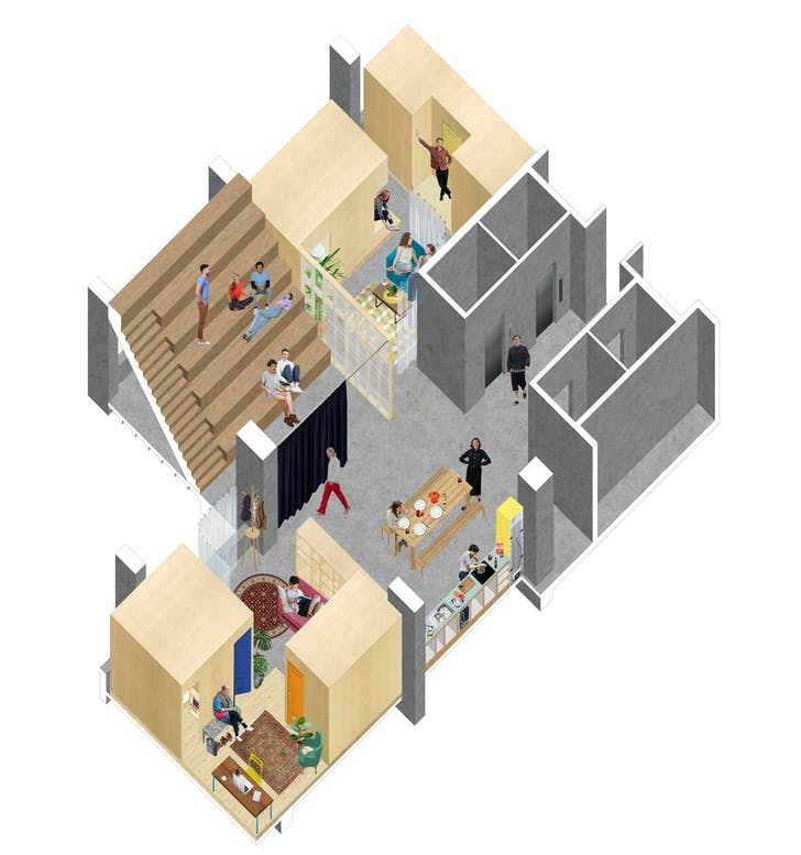 An axonometric of a typical floor in the 'hi-rise' proposal, which is described as a 'light touch, affordable solution that treats all intervention as varying weights of furniture, [which] allows us to establish a horizontal hierarchy from communal to individual space.' Credit: ED/GY