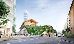 Herzog & de Meuron's shopping center development in Basel will be topped with a middle school
