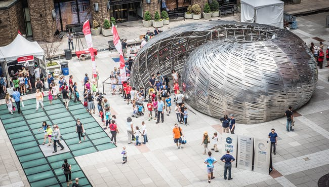 Orbit Pavilion at the May 2015 World Science Festival at New York University, designed by The Studio in partnership with StudioKCA. Photo courtesy NASA/JPL-Caltech