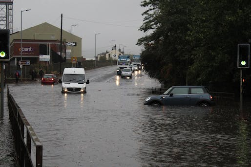 Flooding from Storm Bronagh on the A6178 Sheffield Road on September 20, 2018. Bronagh brought the worst flooding to the city of Sheffield in eleven years. Photo courtesy Wikimedia Commons user Buttons0603.