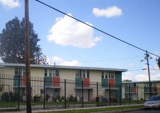 View of the San Fernando Gardens public housing complex in Los Angeles, built in 1949 before Article 34 was enacted. Image courtesy of Wikimedia user Cbl62.