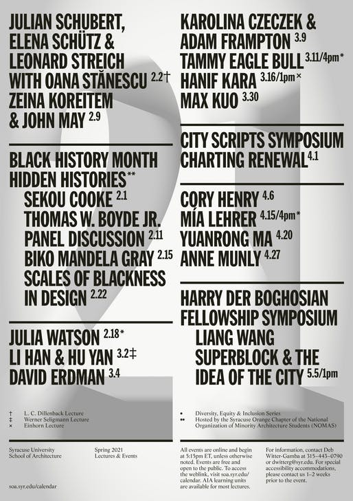 Syracuse University School of Architecture Spring 2021 events poster designed by Common Name