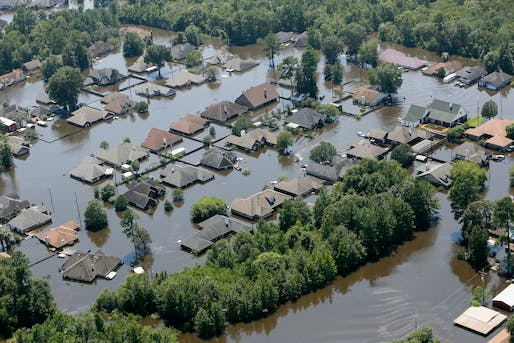 A flooded neighborhood in Port Arthur, Texas following Hurricane Harvey in August 2017. Photo: SC National Guard.