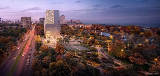 Rendering of the proposed Obama Presidential Center. Rendering: DBOX, image courtesy of Obama Foundation.