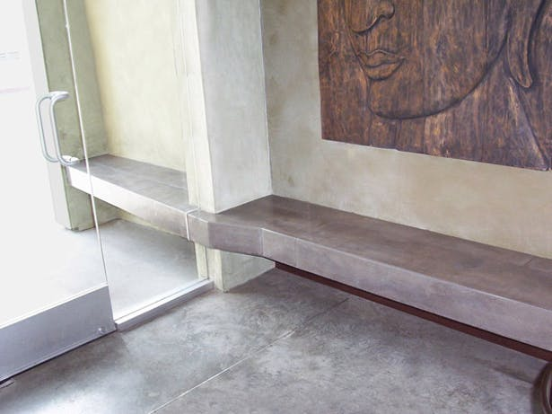 Waiting bench through glass