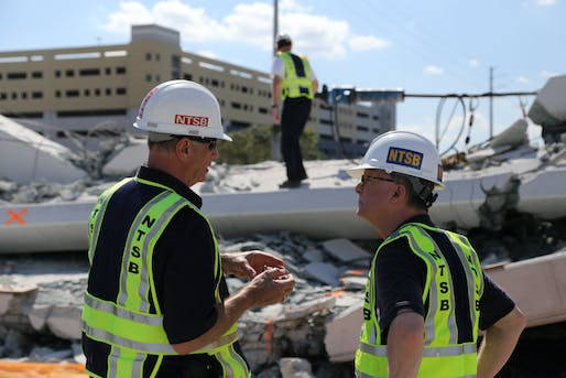 Investigator in Charge Robert Accetta briefs NTSB Chairman Robert Sumwalt on the status of the investigation. Photo: Chris O'Neil, courtesy NTSB.