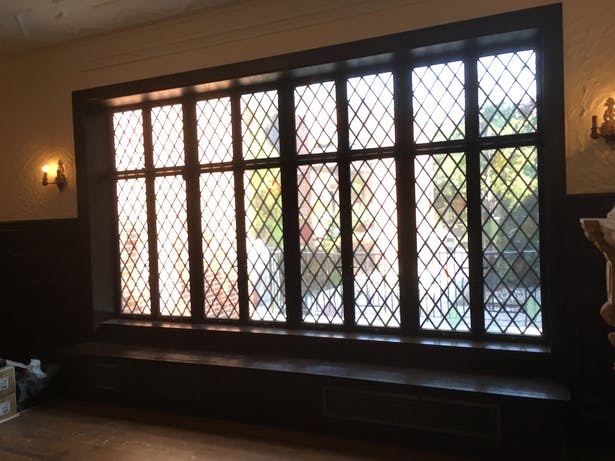 New leaded glass and insulated glass steel casement window assembly to match existing
