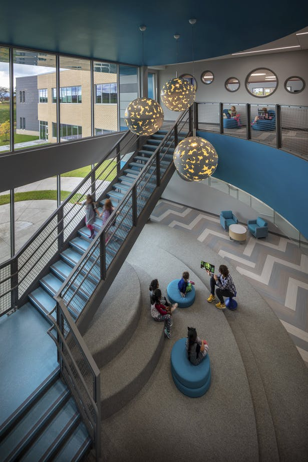 Meadow View Elementary School Stairway + seating C&N Photography