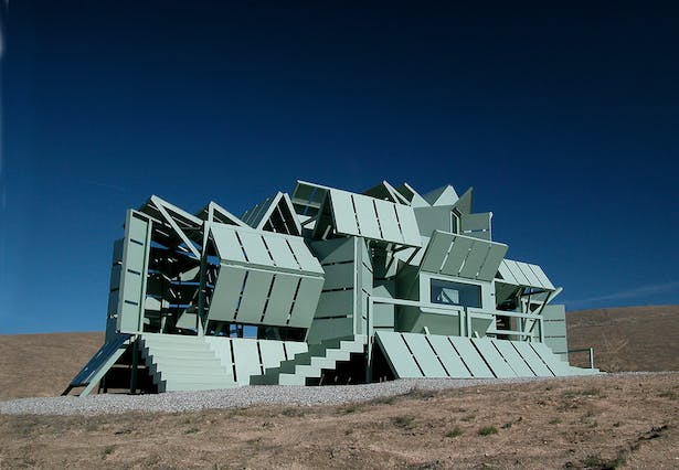 The M-house, a modular, prefabricated, transformable building system that can change its shape to accommodate changing needs, built in 2000.